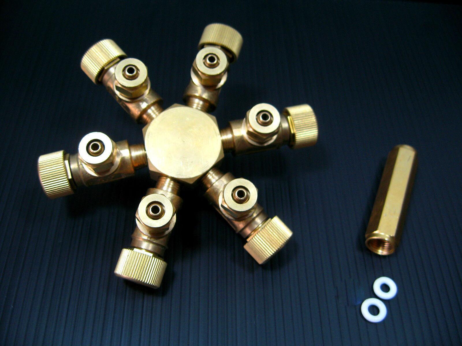 6 way Brass Co2 Splitter  Aquarium Regulator Solenoid Diffuser Tropical Fish ph