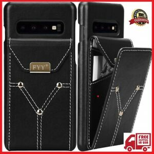 huge discount 8bd7c d06bd Details about FYY Lightweight Cowhide Genuine Leather Wallet Case for  Samsung Galaxy S10+ Plus