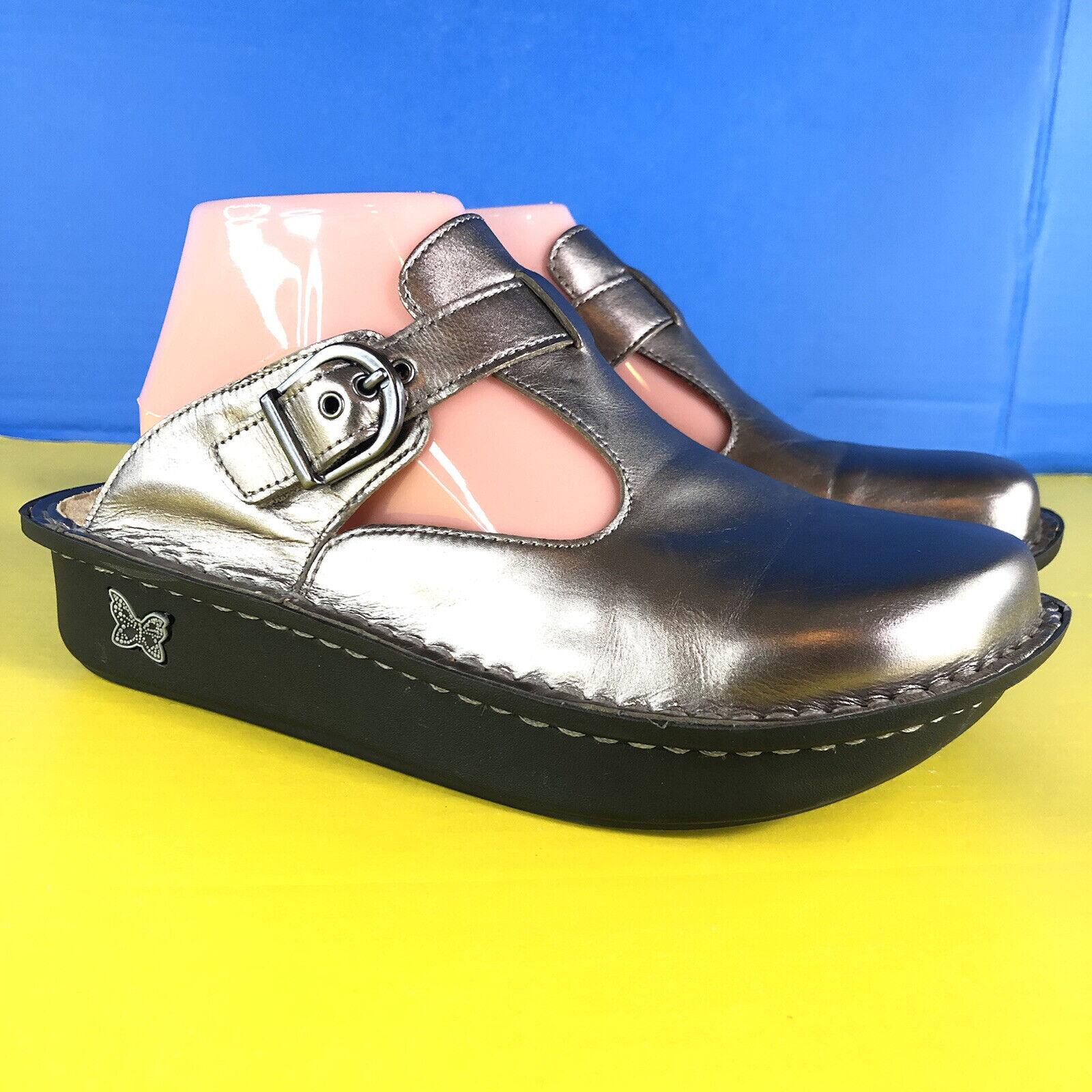 Alegria PG Lite ALG 204 Metallic Silver Women's Comfort Mule Clogs Shoes size 39
