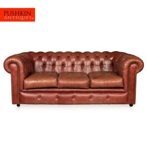 Superb 20thc Chesterfield Leather Sofa