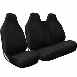 DELUXE BLACK PIPING VAN SEAT COVERS SINGLE TOYOTA HI-ACE ALL YEARS DOUBLE