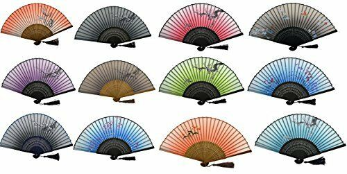 Hand Held Fans Gift Set 6 Mix Colour Wholesale Lot Tokyo Blossom Silk Fabric