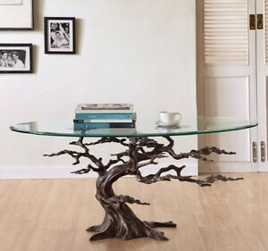 Image Is Loading Coastal Cypress Tree Metal Glass Coffee Table Sculpture