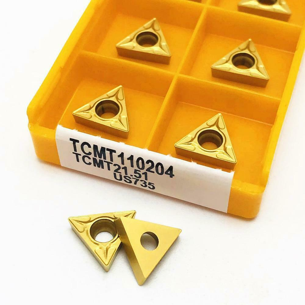 10pcs TCMT110204 US735 TCMT21.51 Carbide Insert Lathe Cutting Tool Bit CNC