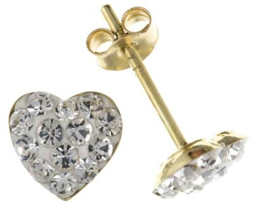 9CT GOLD CZ STUD EARRINGS 9MM HEART WHITE CLEAR CRYSTAL BALL PIERCED GIFT BOX