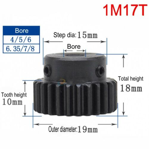 45# Steel Spur Motor Pinion Gear 1Mod 17T Outer Diameter 19mm Bore 7mm x 1Pcs