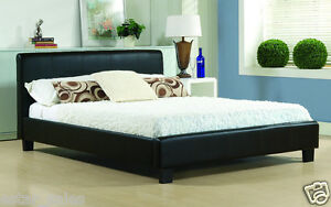buy popular 58c13 a1bdc Details about 4ft6 DOUBLE LEATHER BED with LUXURY MATTRESS - Beds and  Mattresses