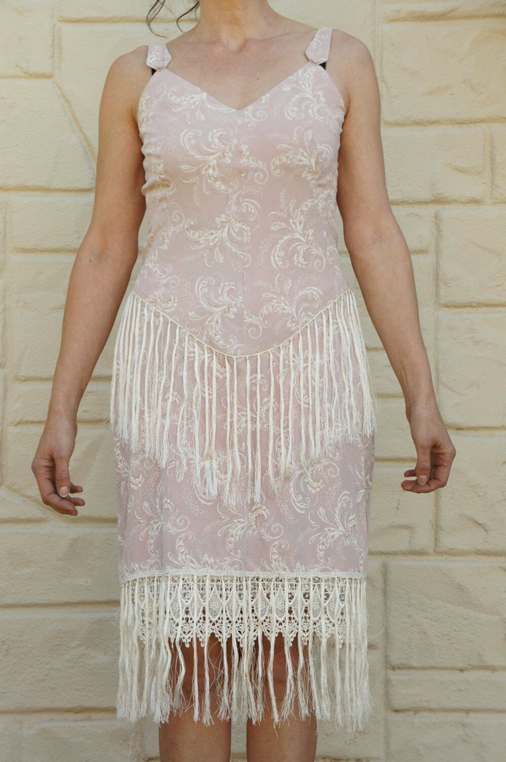 Vintage 80s Pink Fringe Flapper Dress