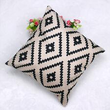 Soft Geometric Argyle Linen Throw Pillow Case Cushion Cover Home Decor Z1s