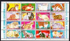 Guinea Equatoriale foglietto da 16 bolli timbro CTO tematica gatti di razza