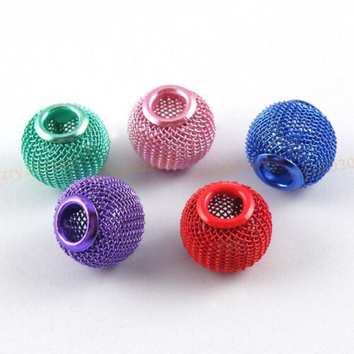 12Pcs 5mm Hole Mesh Bead 14mm,5 Colors-1 or Mixed T1224