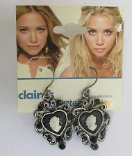 BB Mary Kate Ashley Black Cameo dangle Earrings CLAIRES FASHION JEWELRY