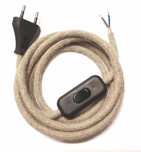 Câble textile Lin Lampes Câble Câble 2-conducteurs connecteur euro Interrupteur exclusif!