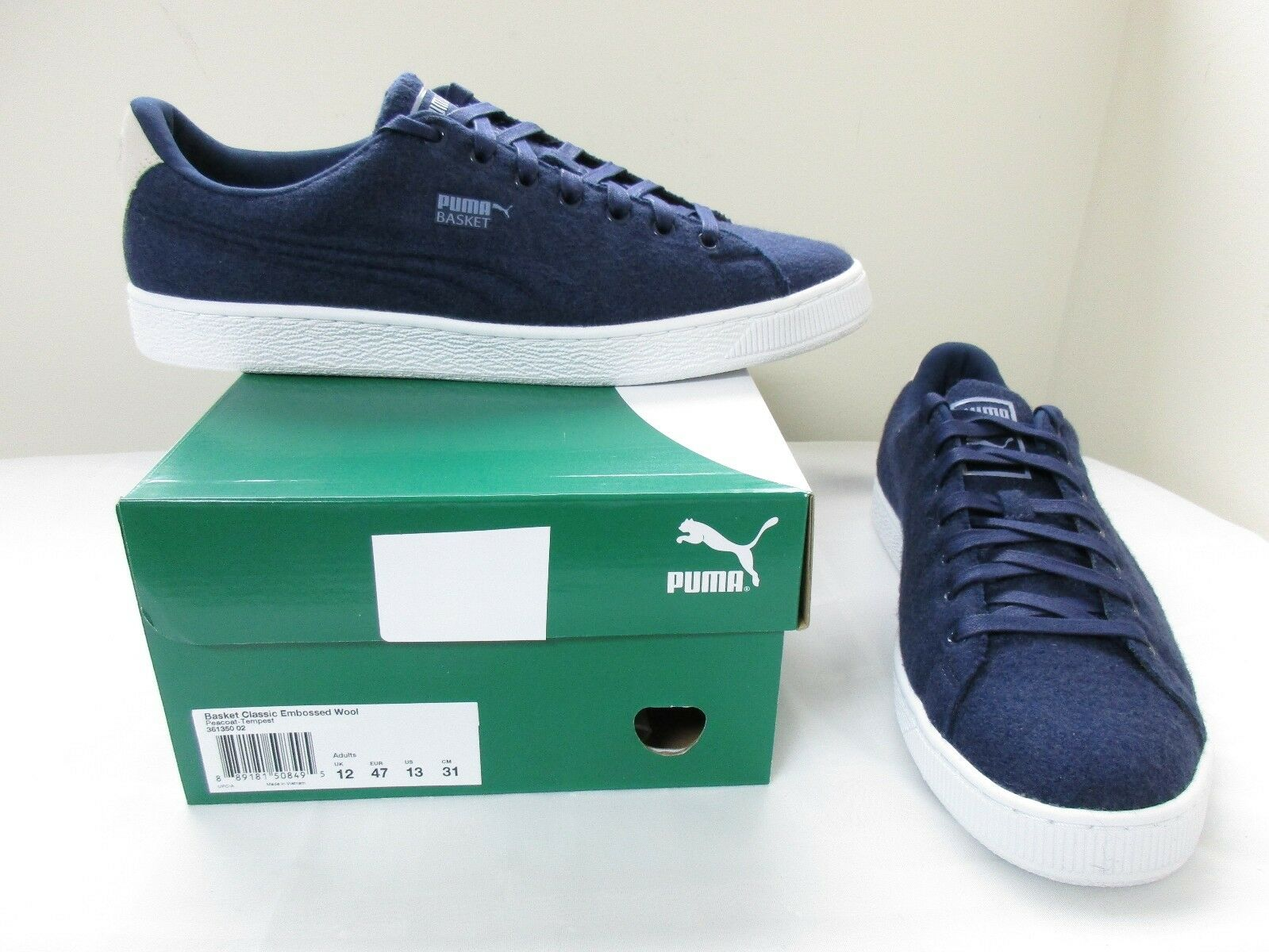 New  Men's Puma Basket Classic Embossed Wool Sneaker shoes 361350 12 Navy W74 dc