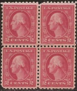 US-Stamp-1916-2c-Washington-Type-I-Unwmk-Perf-10-4-Stamp-Block-MNH-463
