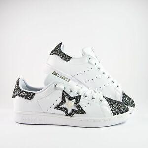 Details zu Schuhe Adidas Stan Smith mit Glitzer Grau Anthrazit und Niete Stern