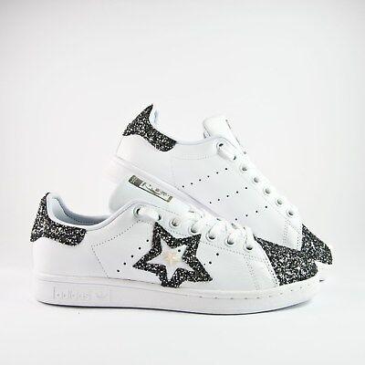 scarpe adidas stan smith con glitter grigio antracite e borchia a stella |  eBay