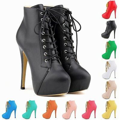 Womens High Heels Lace Up Platform Stiletto Ankle Boots PU Matt Shoes Size UK2-9