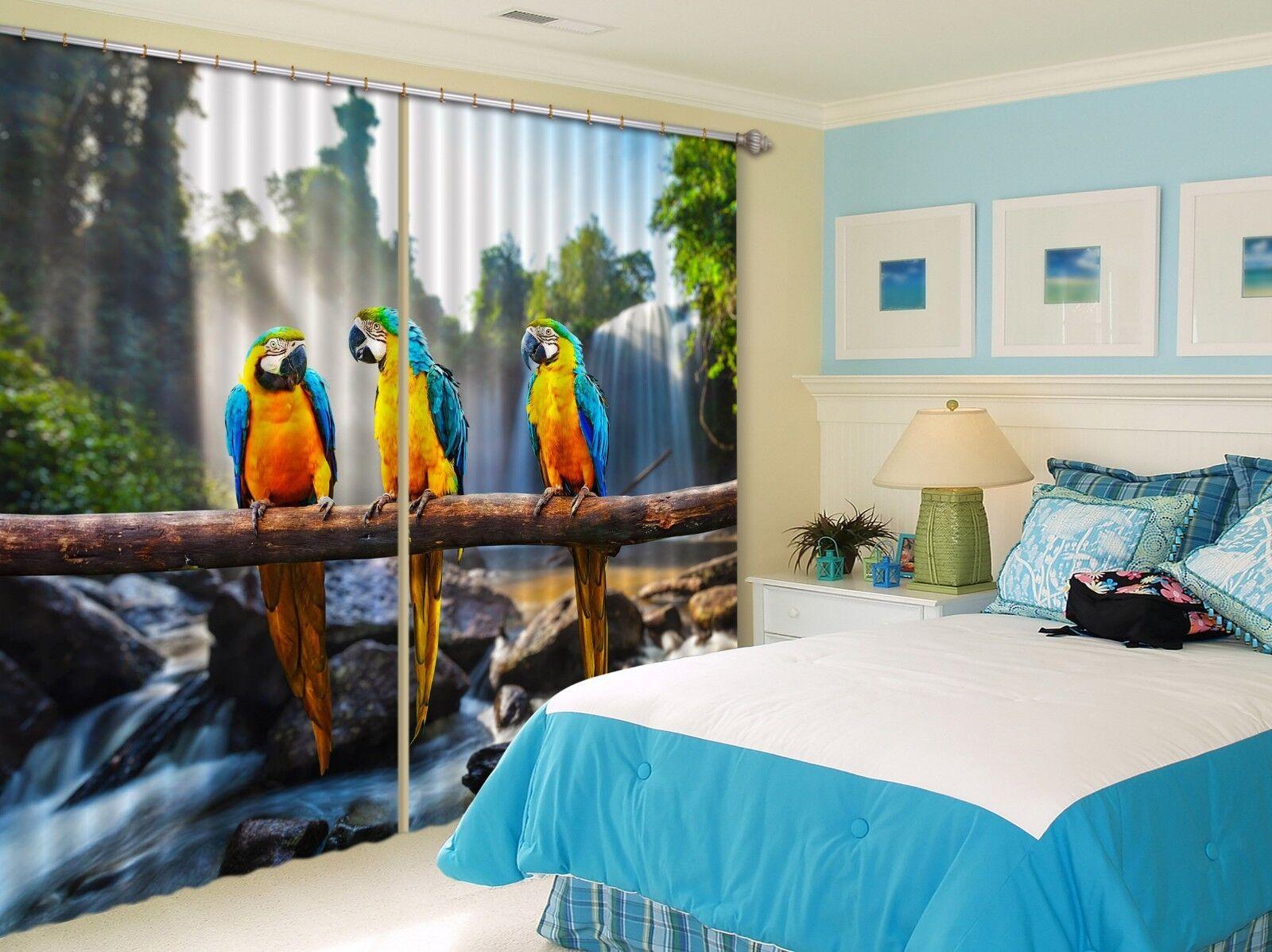 3D Loro Sky 7 Cortinas de impresión de cortina de foto Blockout Tela Cortinas Ventana au