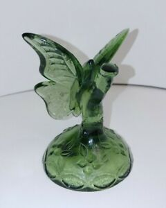 Fenton-Art-Glass-Green-Ring-Holder-Butterfly-Figurine-1980-039-s