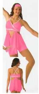 SUDDENLY Dance Costume Crop Top and Attached Skirt Shorts Headwrap Adult Large