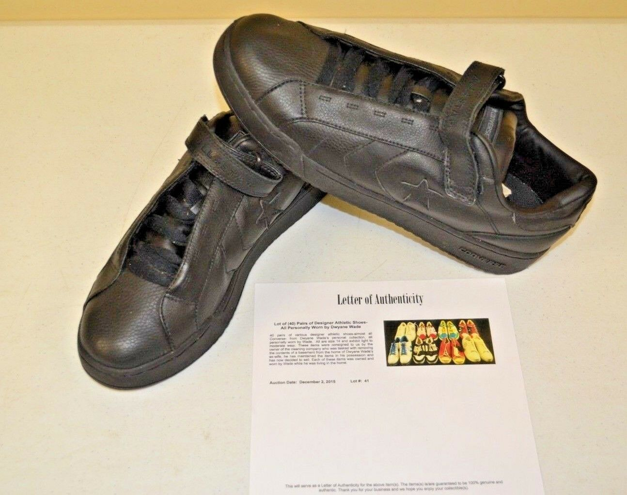 Converse All Star Black Strap Basketball Sz 14 DWAYNE WADE Personal shoes w COA