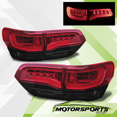 2014 2015 Jeep Grand Cherokee Red Black Smoke Lens LED Brake Tail Lights Pair