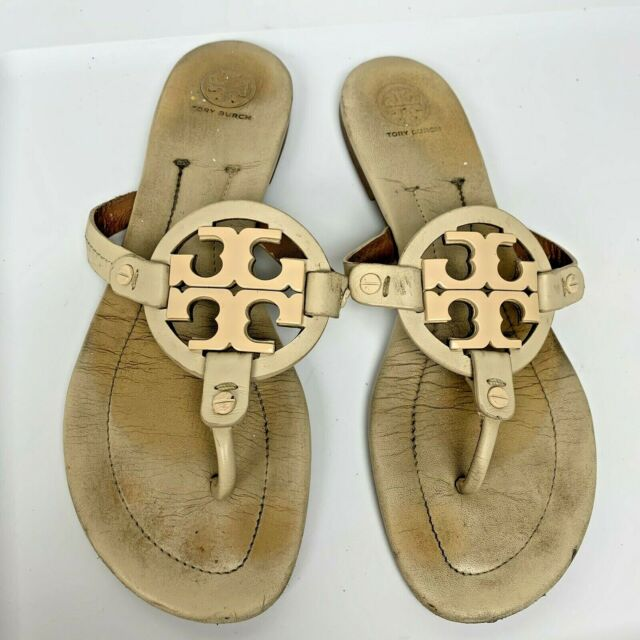 TORY BURCH Miller Cream Leather Thong Women's Sandals Size 9M
