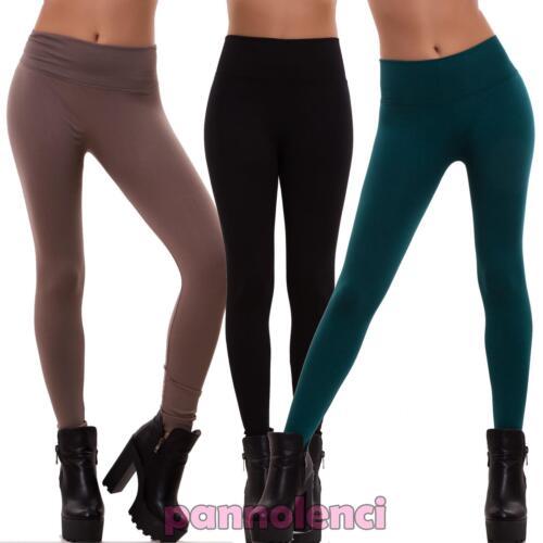 Leggings donna pantaloni elasticizzati felpati caldi pesanti skinny nuovi F3198