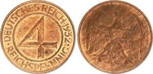 4 Pfennig 1932 D Weimar J.315 Mint State, Kupferpatina