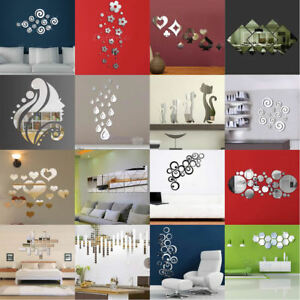Image is loading Modern-Mirror-Style-Removable-Decal-Art-Mural-Wall- & Modern Mirror Style Removable Decal Art Mural Wall Sticker Home Room ...