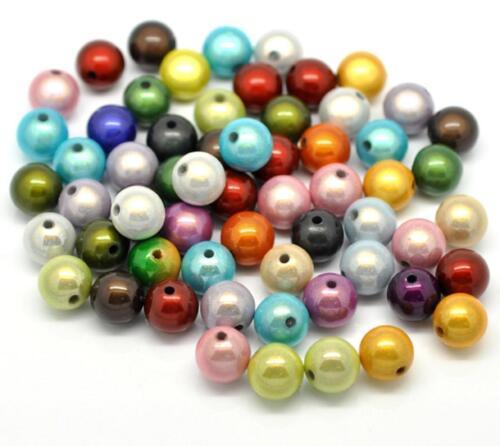 Lot de 50 à 300 perles 8 à 12 mm magique miracle multicolor  3D mix de couleur