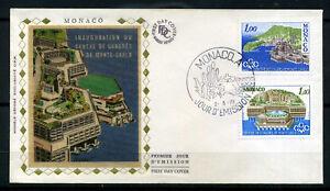 MONACO-FDC-1-jour-timbres-1136-1137-Centre-Congres