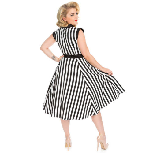 H/&r Londra Rockabilly Swing 50er-ANNI VINTAGE Abito-Olivia nero a strisce