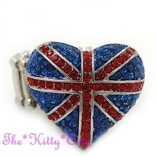 United Kingdom Patriotic British Union Jack, UK Heart Ring w/ Swarovski Crystals