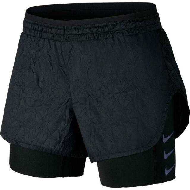 98d25256f558a Nike XL Women's Flex Elevate 2-in-1 Running Shorts Aj4197 010 Black ...
