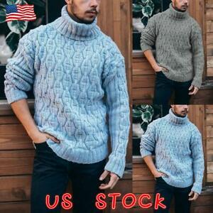 MENS-CHUNKY-CABLE-KNIT-JUMPER-HIGH-NECK-PULLOVER-WARM-WINTER-KNITTED-SWEATER-New