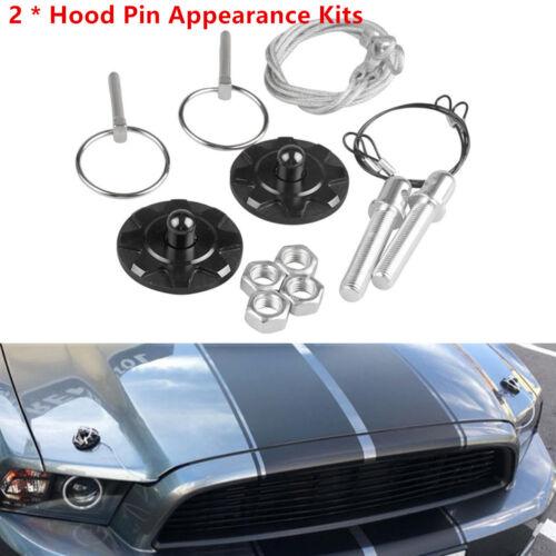 2 x Universal Car Racing Bonnet Hood Pin Lock Billet CNC Aluminum Appearance Kit