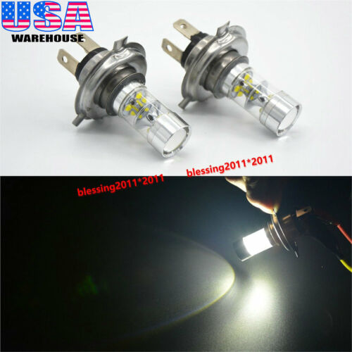 60W White H4 9003 CREE LED Fog Light Bulbs High Low Beam Headlights Driving DRL