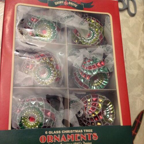 Set 6 Christopher Radko Glass Christmas Ornament Shiny Brite Vintage Design 2018