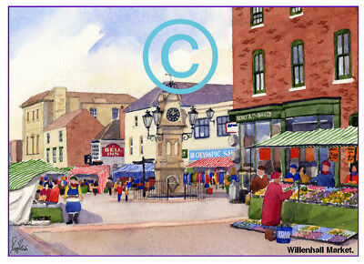 "MARKET CLOCK WEDNESBURY WEST MIDS WATERCOLOUR ARTISTS PRINT ART CARD 8/""x 6/"""