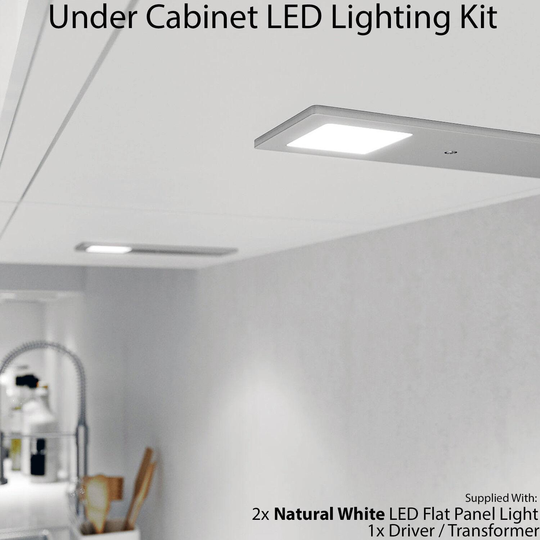 2x 5W Küchenschrank Niedriges Profil   Slim Panel Licht & Treiber – Natur Weiß –