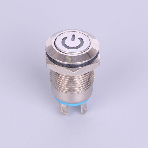 12mm 12V Latching Push Button Black Metal LED Power Momentary^Switch Waterproof.