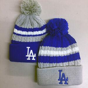 Los-Angeles-Dodgers-Pom-Pom-Beanie-Skull-Cap-Hat-Embroidered-LA-LAD