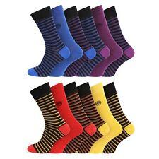 Mens Super Soft Organic Bamboo Socks UK 7-11 EU 40-45 - Stripes - 3 Pairs
