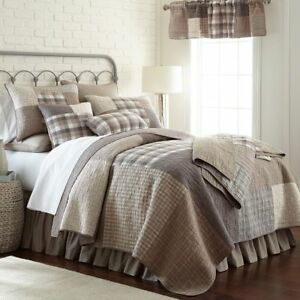 6pc Smoky Square Queen Quilt Set Taupe Ivory Slate Farmhouse Donna Sharp 754069838264 Ebay