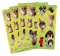 4 Sheets Twisted Whiskers Scrapbook Stickers Dog Cat