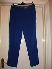 ATMOSPHERE SMART ROYAL BLUE TUX STYLE SATIN RIBBON SIDE STRAIGHT CIGAR TROUSERS