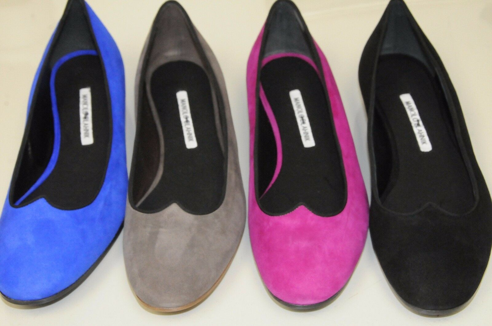 755 NEW MANOLO BLAHNIK Black Pink Royal bluee Taupe Suede ESPER Flats SHOES