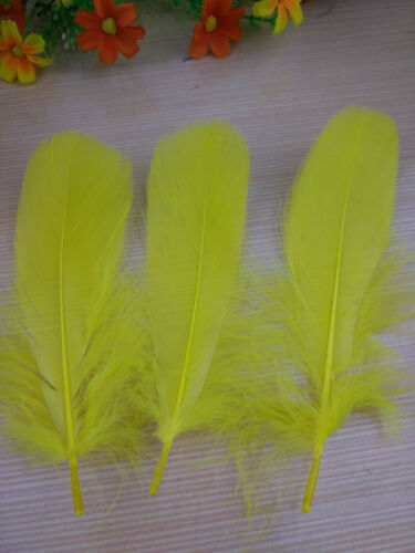 "FEATHERS Stripped Coupe YELLOW X10 pcs  Millinery and Crafts 5-7/"" UK SELLER"